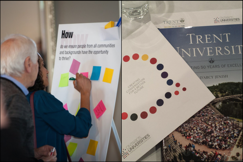 Collage of two photos: woman writing on a post-it stuck to a whiteboard; booklets from Trent University and Ontario's Universities #futuring campaign