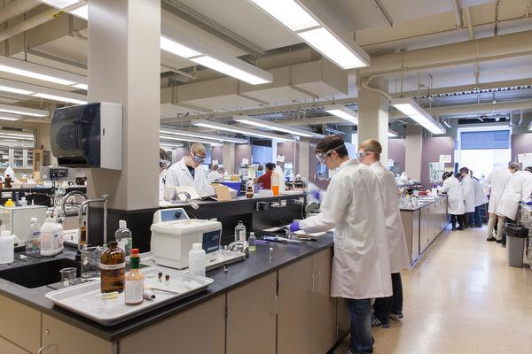 Undergraduate students work in the Chem lab.