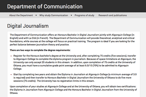 Collaborative program in Digital Journalism