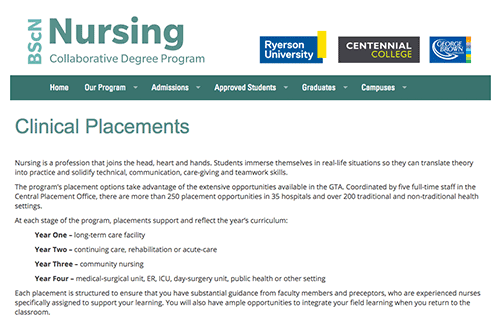 Coordinated clinical placements for nursing students
