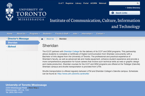 Partnership between Sheridan College and the University of Toronto Mississauga