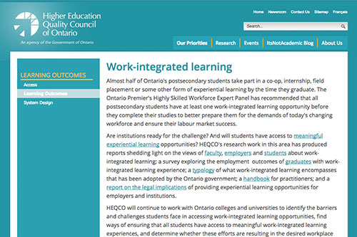 Work-integrated learning (HEQCO)