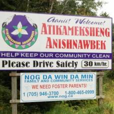 Atikameksheng Anishnawbek First Nation sign