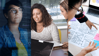 Collage image of students working with computers