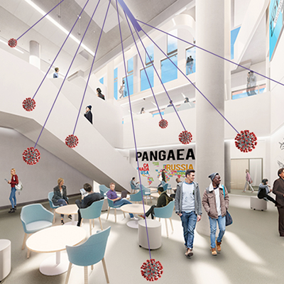 Artistic rendering of a future indoor public space at Ontario Tech University (building scheduled to open in Fall 2021).