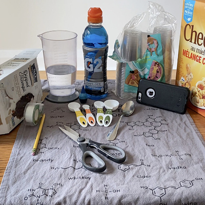 Various household items compiled for a lab experiment
