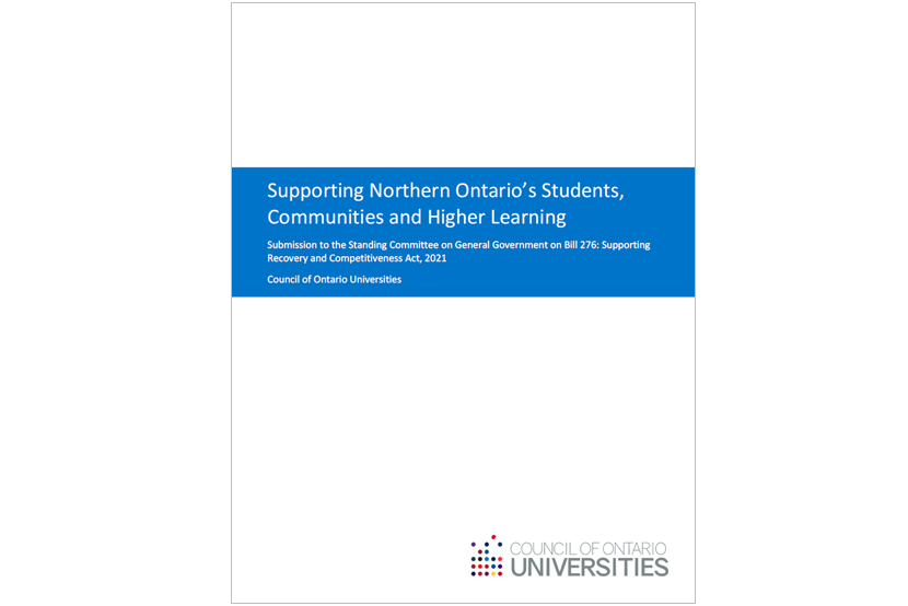 COU Submission to Bill 276: Supporting Northern Ontario's Students, Communities and Higher Learning