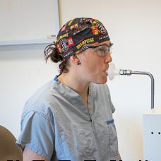 Hamilton Health Sciences (HHS) ICU respiratory therapist Jennifer LeRoux demonstrates how to capture a breath sample in the Picomole machine