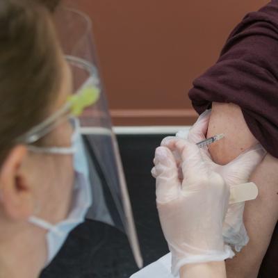 Individual at a vaccination clinic