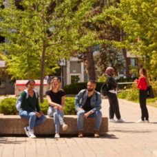 Students sitting and walking on campus